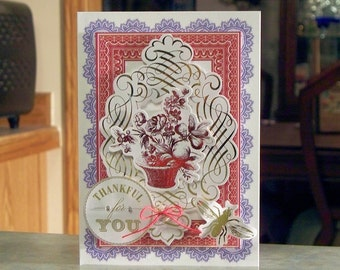 """Handmade Thankful for You Card - 5"""" x 7"""" - Anna Griffin Vintage French Design - Red Foiled Bouquet & Gold Foiled Elements"""