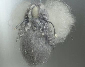 Silver Angel - Needle felted Guardian Angel made of all silver colored materials - made to order