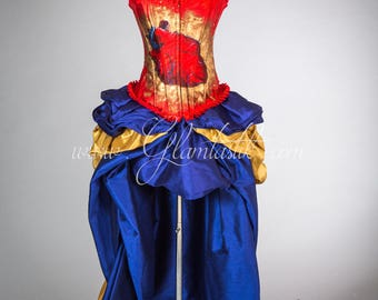 "Size Medium ""One of a Kind"" Hand Painted Red, Blue and Gold Steampunk Burlesque corset with train prom dress - READY TO SHIP"