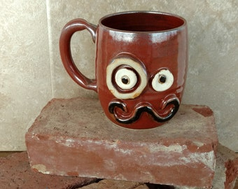 Mans Mug. Monocle and Mustache Coffee Cup. Handmade Stoneware Pottery Red Brown Coffee Mug. Unique Fun Gifts for Husband Guy Boyfriend.