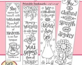 50% OFF SALE A Godly Woman, Proverbs 31, Color Your Own, Bible Bookmarks, Bible Journaling Instant Download Scripture Digital Printable Chri