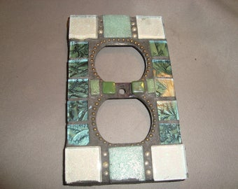 Mosaic Electrical Outlet Cover, Wall Art, Wall Hanging, Silver Glitter with green specks, Light Green, Green and blue Van Gogh Glass