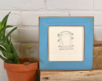 """6x6"""" Picture Frame in 1.5"""" Reclaimed Cedar with Vintage Blue Finish - IN STOCK - Same Day Shipping - 6 x 6 Square Frame"""