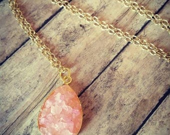 Druzy Necklace, Handcrafted raw stone, natural jewelry