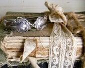 Spoon Handle Bracelet, Silver Spoon Handle Cuff Bracelet, Spoon Jewelry, Ornate Spoon Handle Bracelet, Vintage Silver Bracelet, Bent Spoon
