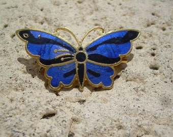 Beautiful cobalt blue enamel Gold tone Vintage Butter fly brooch Pretty summer accessory
