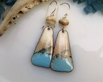 Ocean Blue Enamel Earrings Copper Jewelry Handmade Lampwork Beads