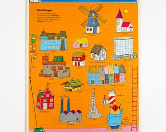 Vintage 1970s Toy Puzzle / 70s Richard Scarry's Buildings Golden Book Preschool Frame-Tray Puzzle VGC