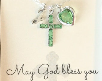 Crystal Cross Pendant - Cross Necklace - Peridot - August - Green - First Communion Gift - Gift for Goddaughter - Goddaughter Gift - N099