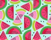 Tutti Frutti Tropical Fruit Watermelon Smash Seeds and Slices on Aqua Blue Fabric by Maude Asbury