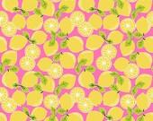Tutti Frutti Tropical Fruit Tart Citrus Lemons on Pink Make Lemonade Fabric by Maude Asbury