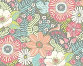 Haven Woodland Wild Flowers Fabric Sweet Briar Rose Vines and Blooms Floral on Grey