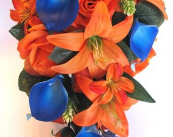 "Wedding Bouquets Bridal Bouquet 17 Piece Package Wedding Silk flower ORANGE ROYAL Blue CALLA Lily Wedding Centerpieces ""RosesandDreams"""