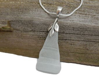 Genuine surf tumbled Beach glass necklace, sterling silver snake chain, Lake Michigan, frosty white glass, sea glass