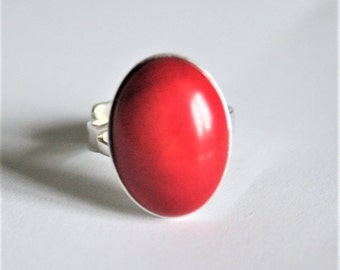 Red ring. Adjustable ring.  Red sea bamboo and sterling silver ring.  Adjustable sterling silver ring.