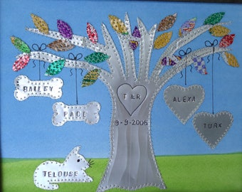 Tin Anniversary 10 Year Anniversary Gift Wedding Gift Hearts Family Tree Engraved Dates and Names Stamped