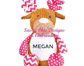 Personalized Deer/Birth Announcement Cubbie/Dog Cubbie/Monkey/Personalized Stuffed Animal/Personalized Stuffed Deer/Stuffed Animal/