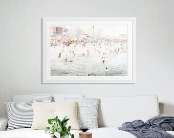 Large Beach Photography Beach People Modern Art // Large Wall Art // Beach Photography // Silvery Gray with Spots of Color // Coney in July