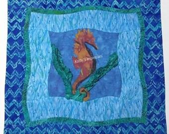 "Tropical SEAHORSE Ocean Waves Sea Grass PILLOW Cover Case~ Artistic Quilt Sashing~ Fits 18"" Pillow"