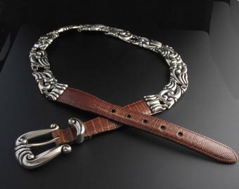 Brighton Metal Link Belt, Brighton Leather Belt, Silver Belt, Brown Leather Belt