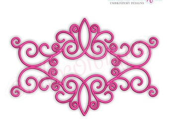 Curly Vintage Double Flourish Font Frame -Instant Download Machine Embroidery Design