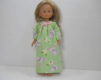 13 inch doll clothes made to fit dolls such as Corolle Les Cheries doll clothes, Green Nightgown with Pink Bunnies, 03-1978