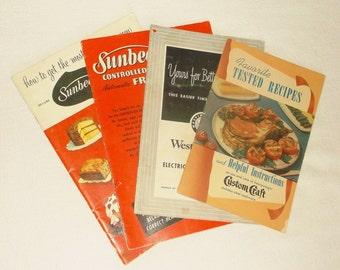 4 vintage Kitchen Appliance Cookbooks • Custom Craft . Westinghouse Roaster . Sunbeam FryPan & MixMaster
