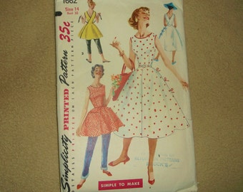 Vintage Simplicity Wrap-Around Dress Pattern 1662 • size 14 . bust 32