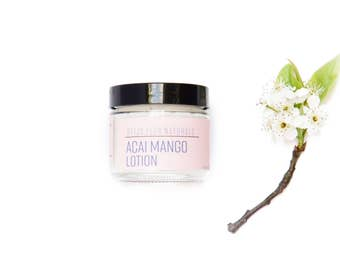 Acai Mango Lotion/Organic Face Cream/ Natural and Organic skincare