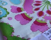 Baby Girl CHENILLE BURP CLOTH  -  Dena Designs - Pink, Teal, Green Print