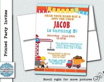 Printed Party Invitations, Birthday Party, Printed Invites with Envelopes, Construction Theme, Worker, Dump Truck, Crane, Red, Blue, Yellow