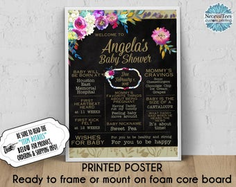"""PRINTED Ready to Frame, Personalized Baby Shower Poster, 11"""" x 14"""", 16"""" x 20"""", 18""""x24"""", Watercolor Florals, Flowers, Chalkboard Look Sign"""