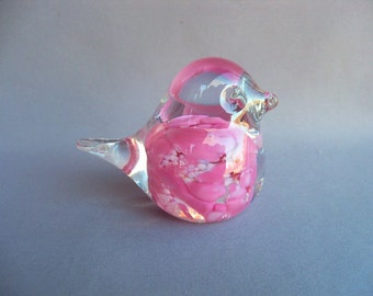 Hand Blown Art Glass Small Pink Bird