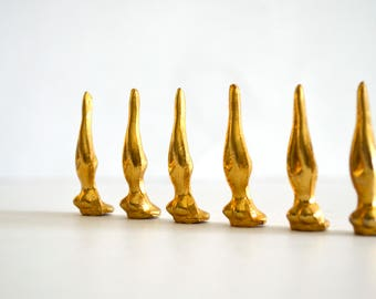 Vintage Metal Lady Busts Diving Miniature Figurines Gold Tone Set of 6 Modern Hollywood Regency
