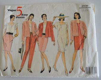 Vogue 2638 5 Easy Pieces  Jacket, Dress, Top, Skirt and Pants Size 20-24 UNCUT
