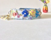 Pretty Spring Floral Headband Upcycled in Pink Blue Yellow