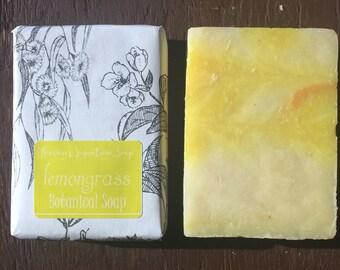 lemongrass Soap All Natural Vegan Shea Butter Bar Sensitive Skin Yellow decorative fragrant earthy Heavens Signature