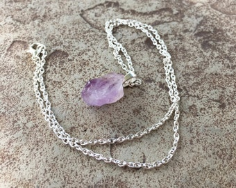 Light Purple Amethyst Necklace Silver, Raw Crystal Necklace, February Birthstone Necklace, February Gift, Handmade Amethyst Crystal Necklace