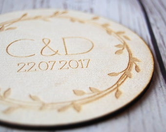 Personalised Wedding Favours ~ Wooden Favours coaster ~ Wedding Gift ~ Personalised ~ Rustic