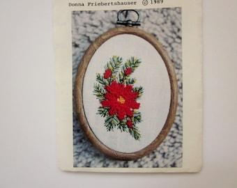 Little Needlework Kit, Ruffled Poinsetta by Donna Friebertshauser, 1989 Very Rare