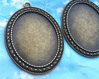 NEW COME 5pcs 55x41.5mm antiqued Bronze oval cameo/cabochon base setting pendant blanks/bezel trays(40x30mm incavity)