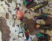 Aura Quartz and Cherry Quartz Pendant Necklace