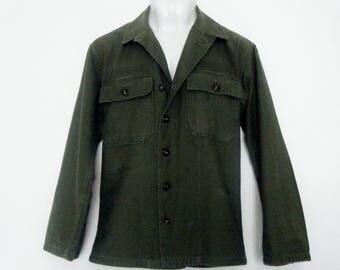 pre vietnam US MILITARY GI two Pocket Utility Shirt, Army olive drab slim fit, mens size m