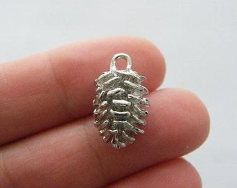 4 Pine cone charms silver tone L196