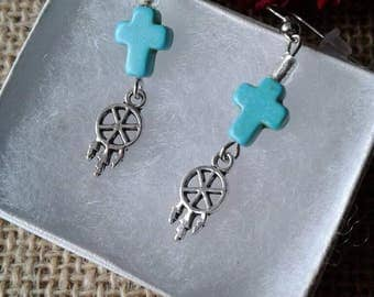 Turquoise Cross Earrings,Dreamcatcher Earrings