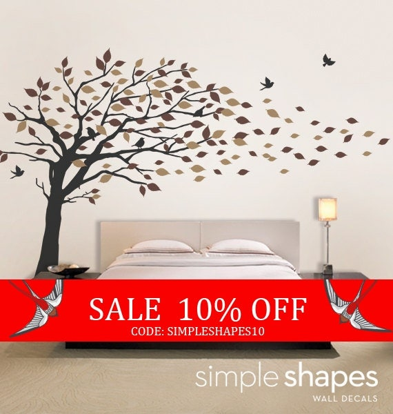 Sale - Vinyl Wall Art Decal Sticker - Blowing Leaves Tree - LARGE
