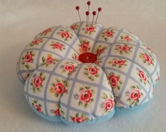 Handmade Large Pin Cushion made from Cath Kidston Blue Quilted Rose fabric