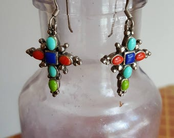 south western, silver cross earrings, turquoise, lapis and coral