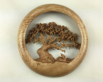Oak Tree Wood carving wall hanging wood home wall decor best gift by Gary Burns the treewiz
