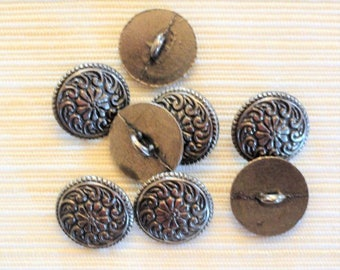 "Vintage metal buttons, flower, scrolls, 8 silver color craft buttons, 3/4"" vintage sewing supply, shank buttons, destash"